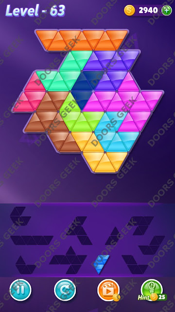 Block! Triangle Puzzle 10 Mania Level 63 Solution, Cheats, Walkthrough for Android, iPhone, iPad and iPod