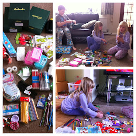 Children packing their shoebox gifts