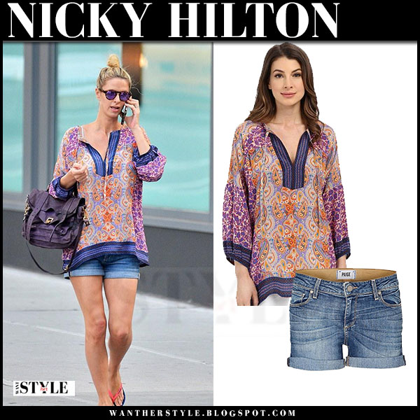 Nicky Hilton in purple print tolani tanya blouse and denim shorts paige what she wore