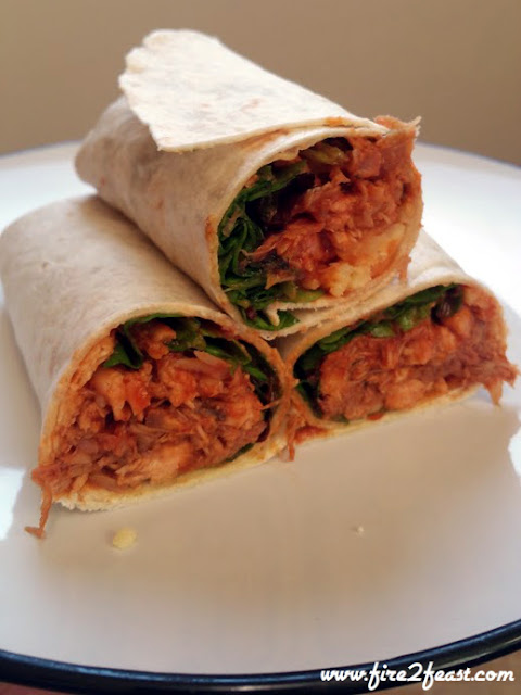 three halfs of the finished bbq chicken wraps