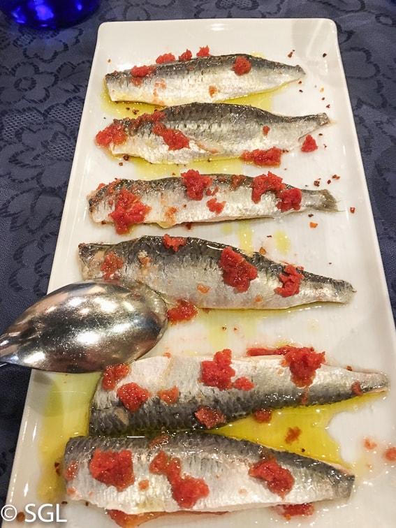 Comer en Bilbao. Lomos de sardinas en el Restaurante Nido