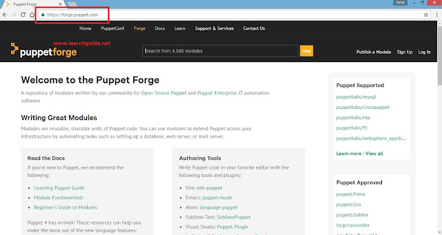download pre-existing puppet modules from forge website