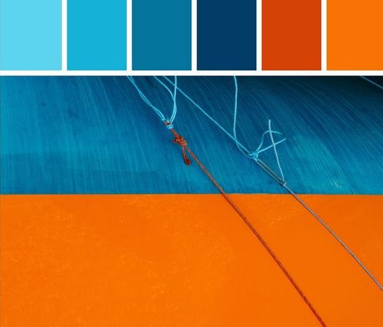 Διακοσμητικοί συνδυασμοί σε  Μπλε - Πορτοκαλί