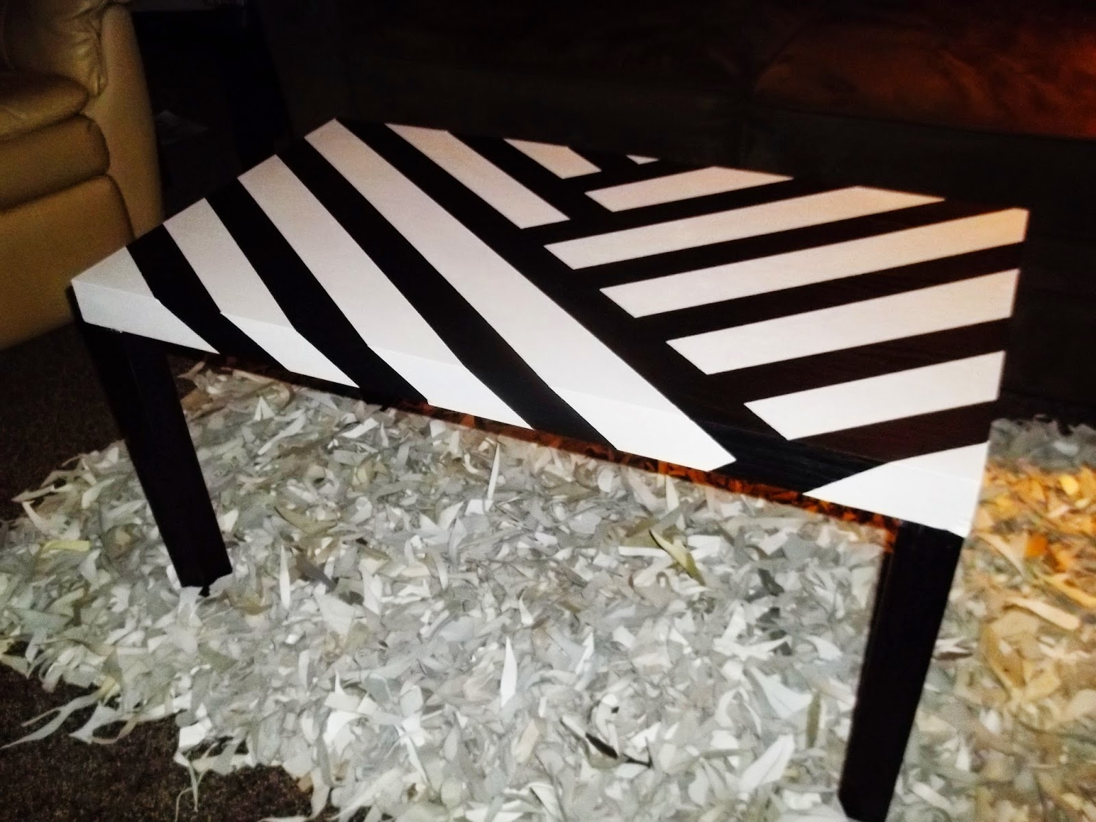 DIY Striped Coffee Table