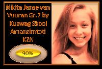 Nikita Janse van Vuuren van  Kuswag Skool Amanzimtoti KZN Gr7 kry 90% vir die aanbieding van haar toespraak onder die ATKV se 2013 tema GELD!