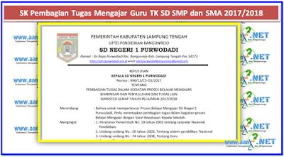 Contoh SK Pembagian Tugas Mengajar Guru TK SD SMP dan SMA 2017/2018