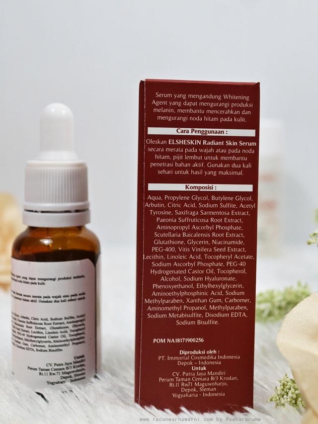 Elsheskin Radiant Skin Serum Ingredients