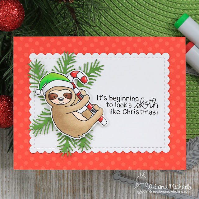 Sloth Like Christmas Card by Juliana Michaels featuring Newton's Nook Designs Slothy Christmas Stamp Set
