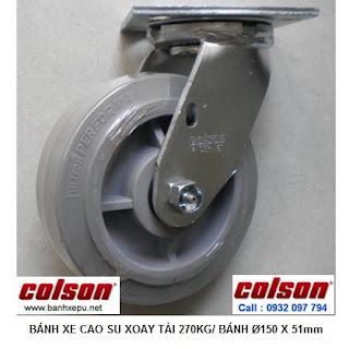 Bánh xe cao su đặc xoay phi 150 Colson chịu lực 270kg | 4-6109-459 www.banhxepu.net