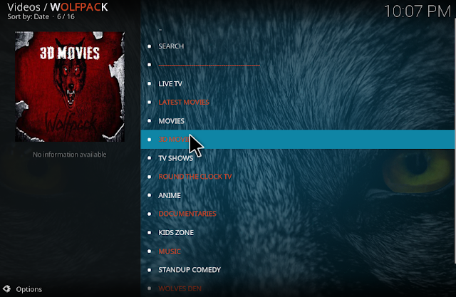 Finished install Wolf pack kodi addon on version crypton