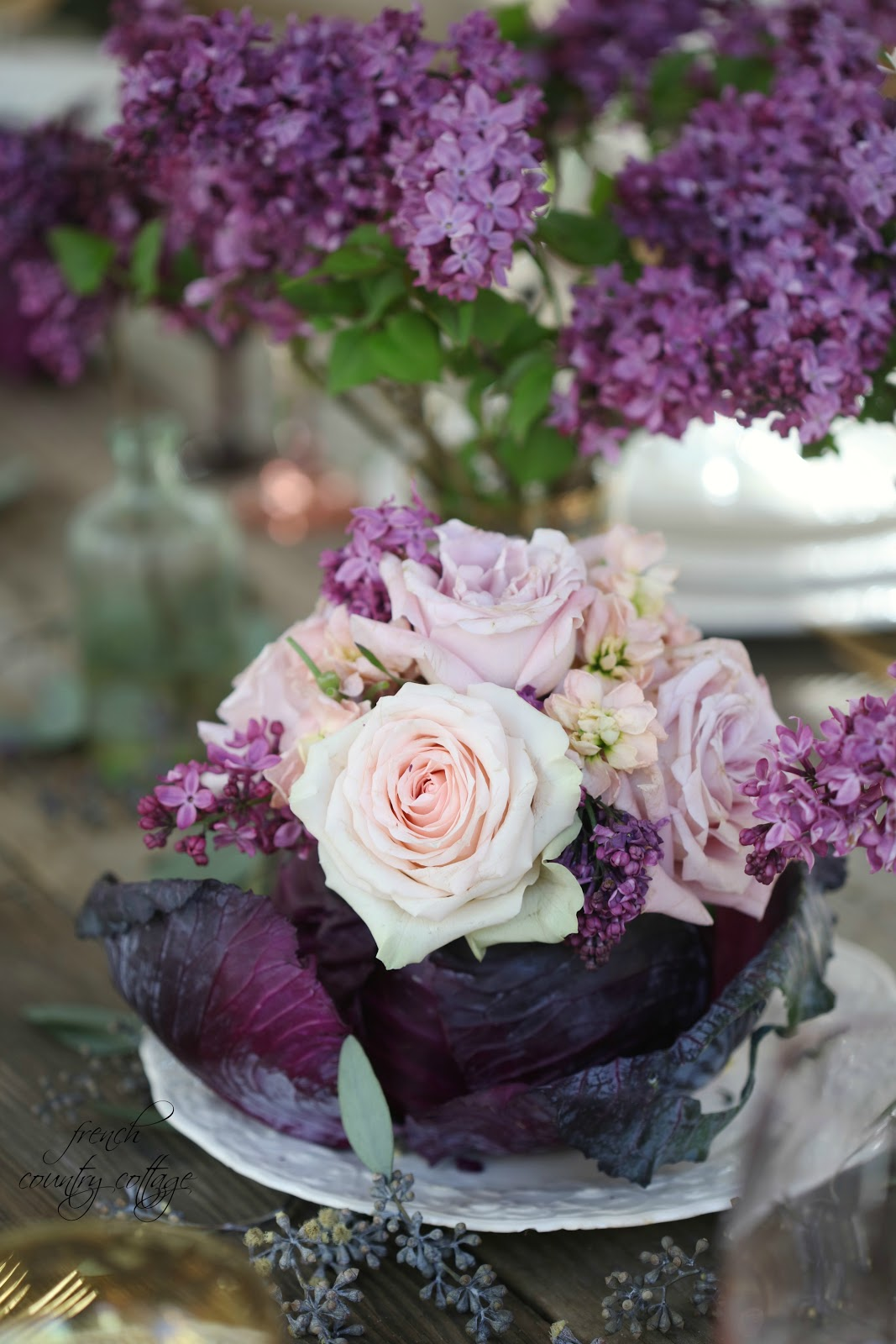 Entertaining lilacs roses purple cabbage table setting