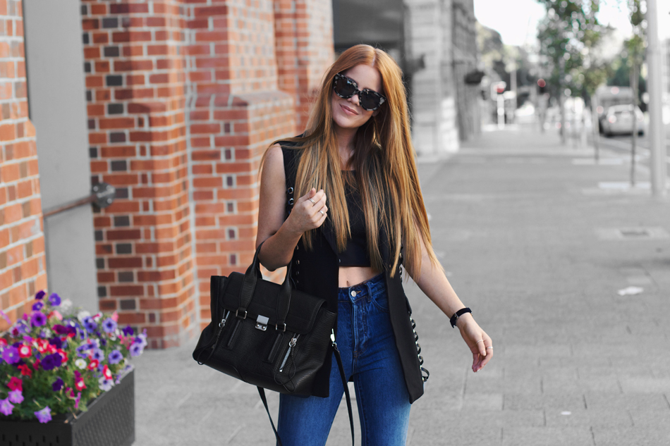 Ivory & Chain, black vest, 3.1 Phillip Lim Pashli, blue mom jeans