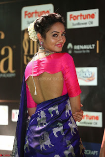 Shanvi Looks Super Cute in Pink Backless Choli Blue Saree at IIFA Utsavam Awards 2017 42.JPG