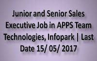 Junior and Senior Sales Executive Job in APPS Team Technologies, Infopark