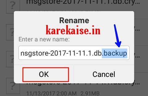 Whatsapp message backup