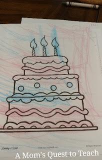 Cake coloring sheet