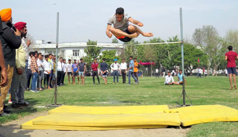 Student participating during Annual Athletic Meet at LCET
