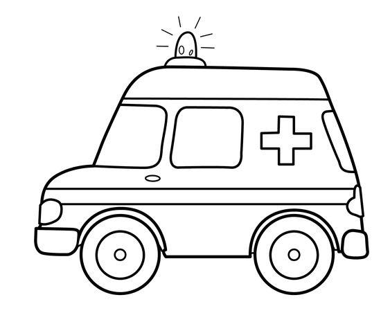 Tranh tô màu xe ô tô cứu thương