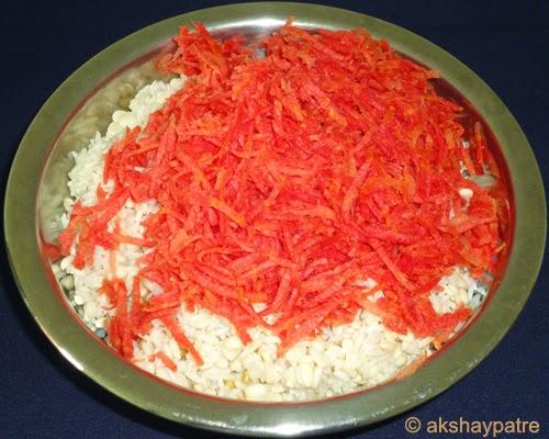 gajar added to the rice urad dal