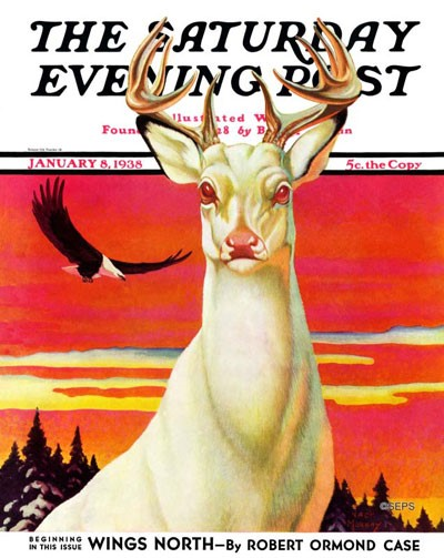 Cover for Saturday Evening Post issue dated Jan 8, 1938 featuring the fiction debut of Robert Ormond Case with Wings North. Artist: Jack Murray