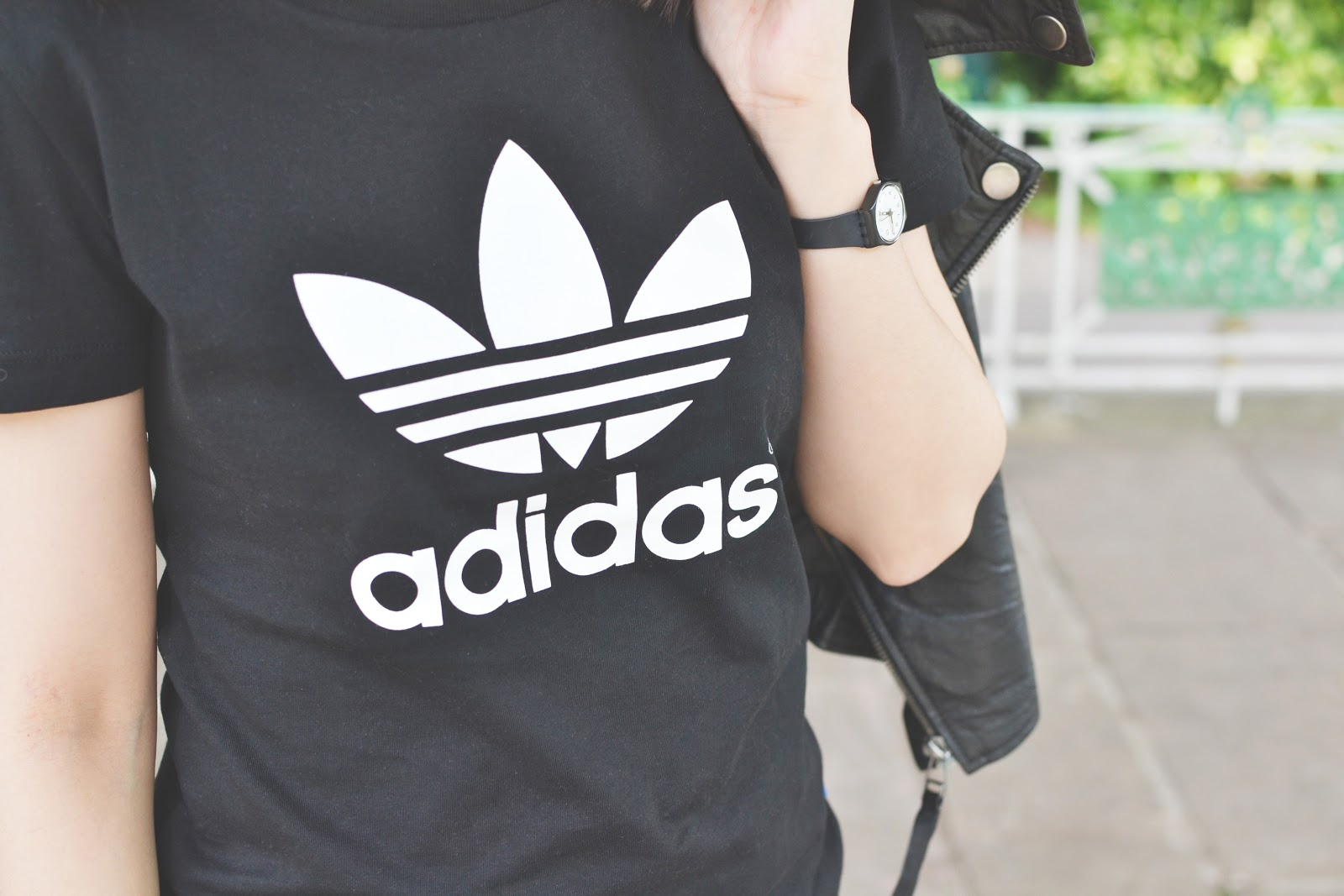 adidas black and white tshirt