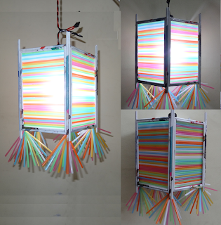 MultiColoured Straw Lantern
