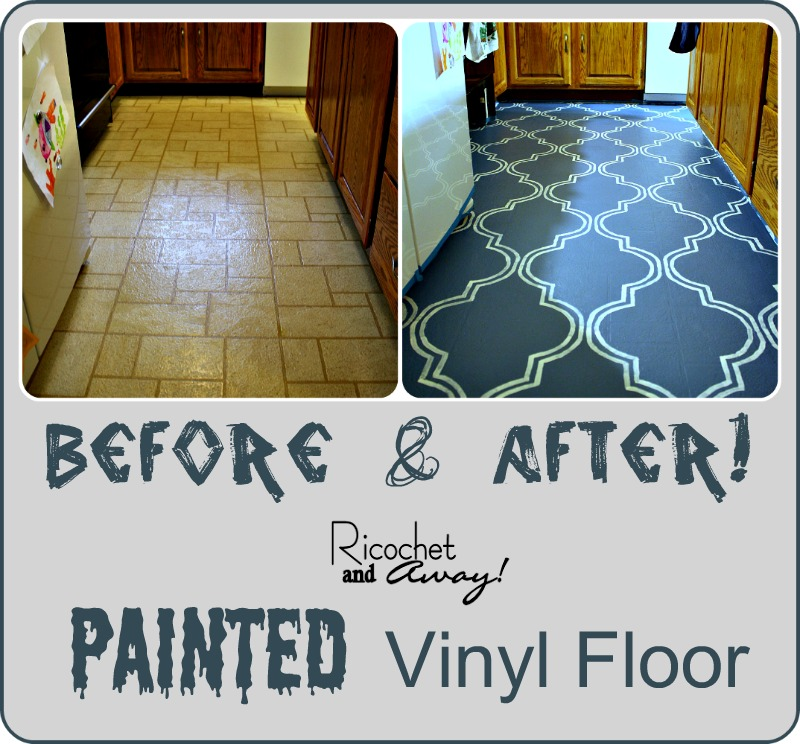 Ricochet and away i painted my vinyl floor for Painting vinyl floor tile