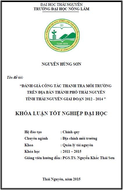 Đánh giá công tác thanh tra môi trường trên địa bàn thành phố Thái Nguyên giai đoạn từ 2012 - 2014