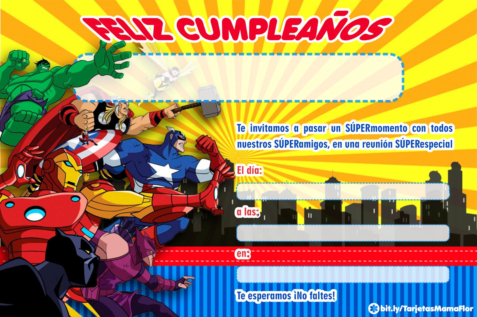Tarjeta de Cumpleaños de LOS VENGADORES, para imprimir ...