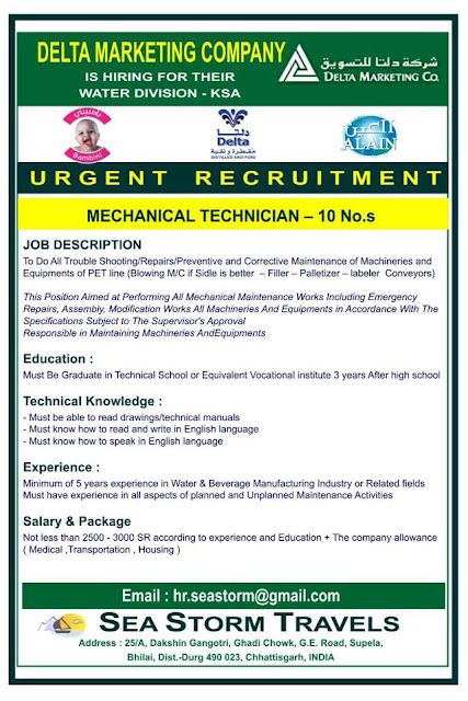 Mechanical technician vacancy for delta marketing company