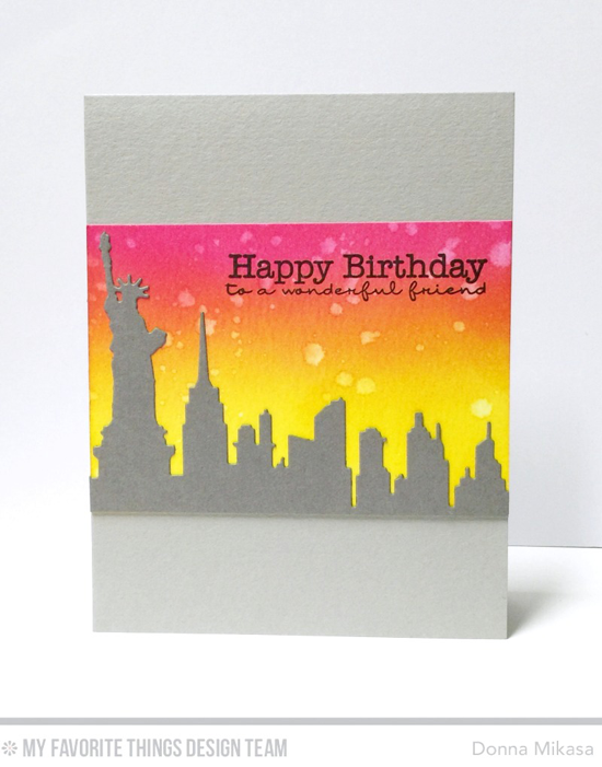 Handmade card from Donna Mikasa featuring Lisa Johnson Designs Pretty Poppies stamp set and New York Skyline Die-namics #mftstamps