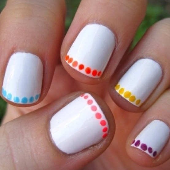 A cool touch just do a line of polkadots around the edge of your nail