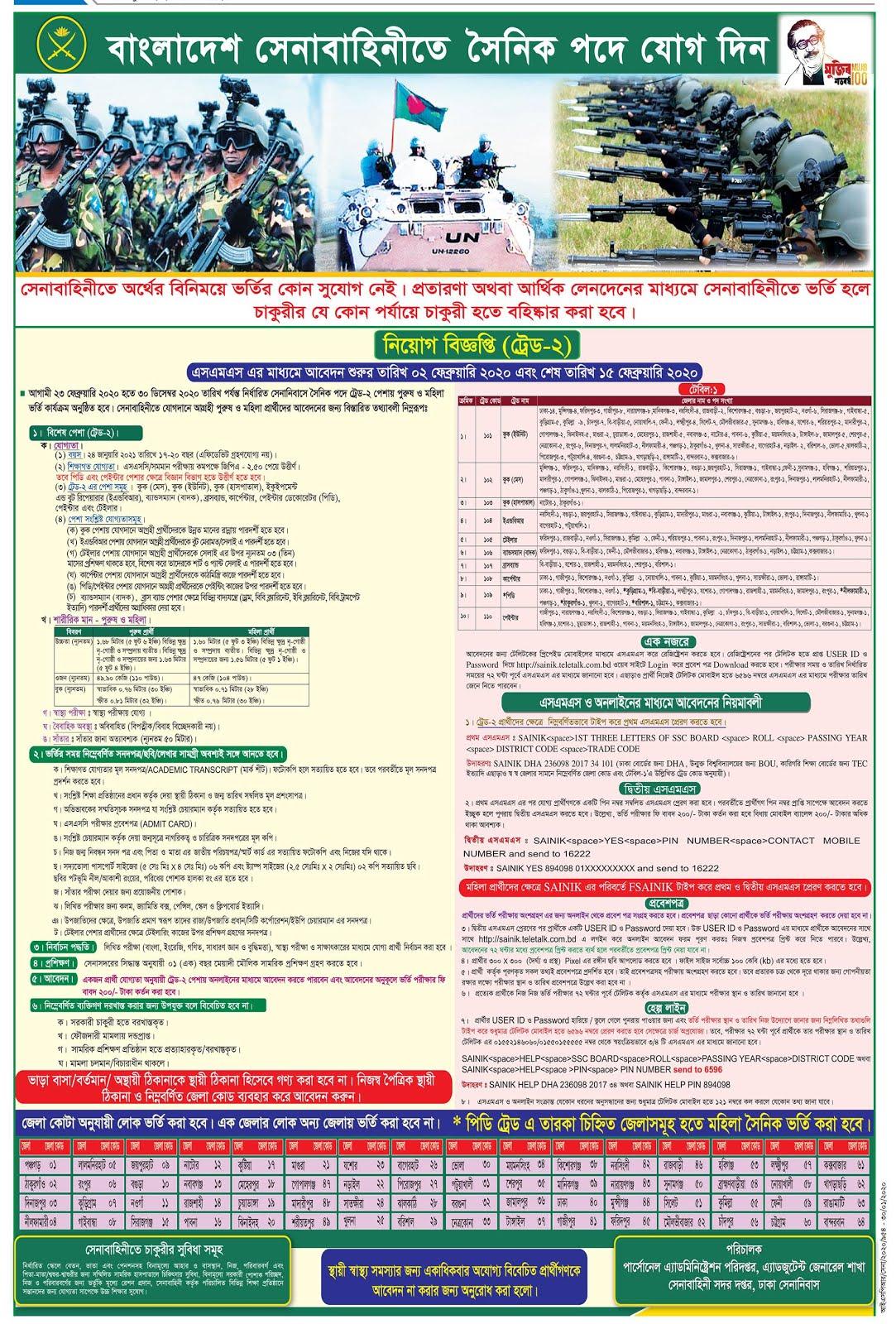 বাংলাদেশ সেনাবাহিনীতে সৈনিক পদে নিয়োগ বিজ্ঞপ্তি - Sainik Recruitment Circular - বাহিনীর চাকরির খবর