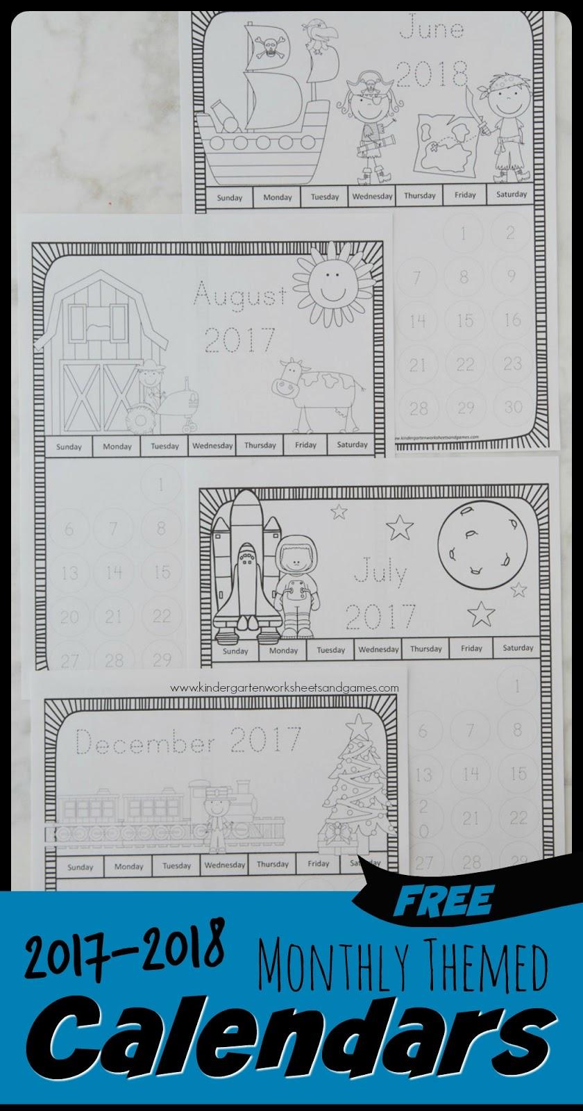 kindergarten worksheets and games free printable calendar for