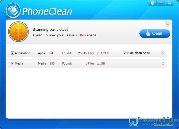 PhoneClean  un logiciel gratuit pour gagner de lespace