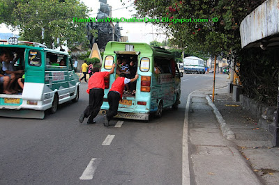 Pushing public bus, Cebu,Philippines