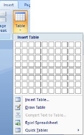 tampilan ikon tabel
