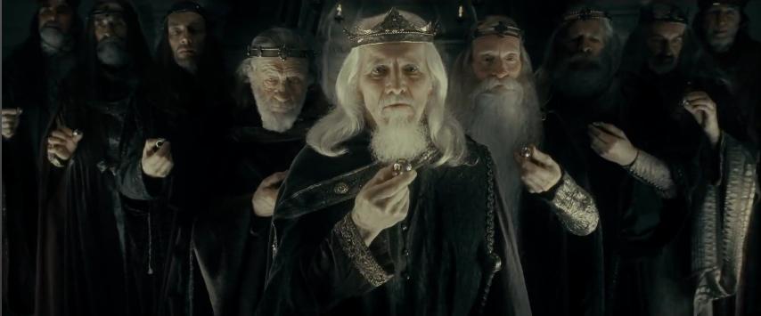 Los 9 reyes de los hombres sostienen los anillos de poder en La Compañia del Anillo
