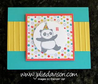 Stampin' Up! Party Pandas Card & Mini Pizza Box ~ 2018 Sale-a-Bration ~ www.juliedavison.com