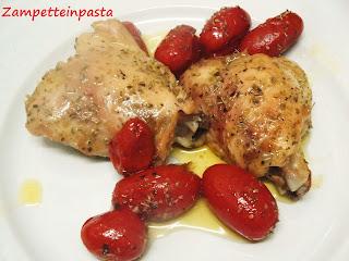 Pollo al forno con i pomodorini - Ricetta con sovracosce di pollo