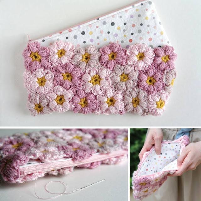 Cartera con Flores Puff a Crochet