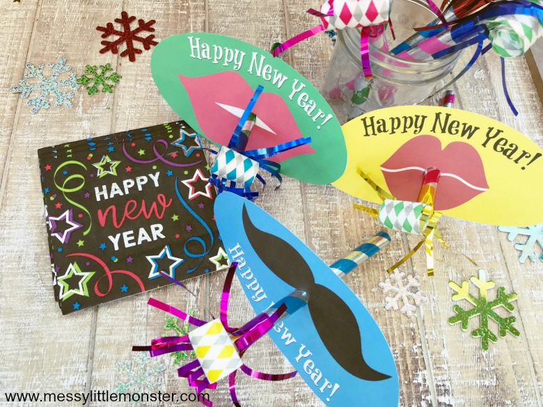 Printable New Years Eve with Kids activity - Fun party blower masks.