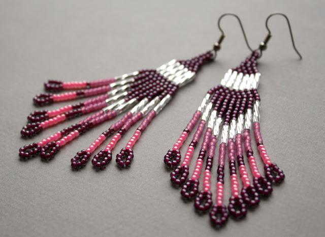 купить Розовые длинные серьги ручной работы. Фуксия