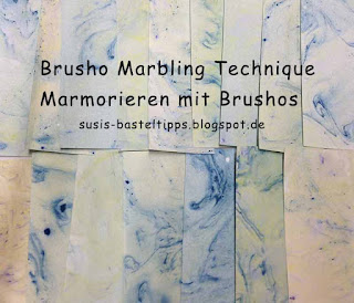 Marmorieren mit Brusho Farben, brusho marbling technique, Technik von Stampin' Up! Demonstratorin in Coburg