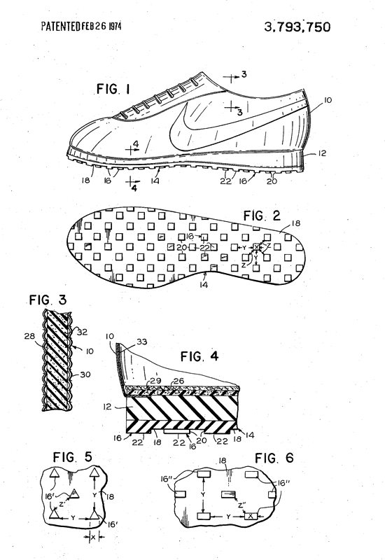 Nike shoes patent 1972 - figures
