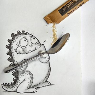 dessin qui tient une cuillère avec une dosette de sucre