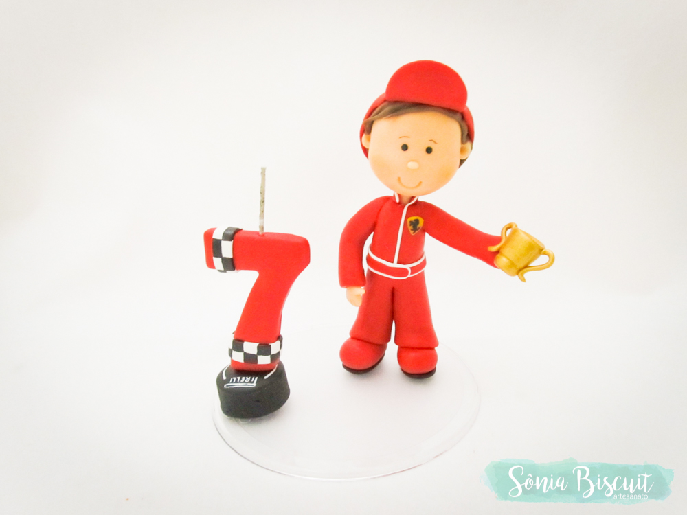 Biscuit,Topo de Bolo Aniversario, Piloto, Menino Piloto, Ferrari
