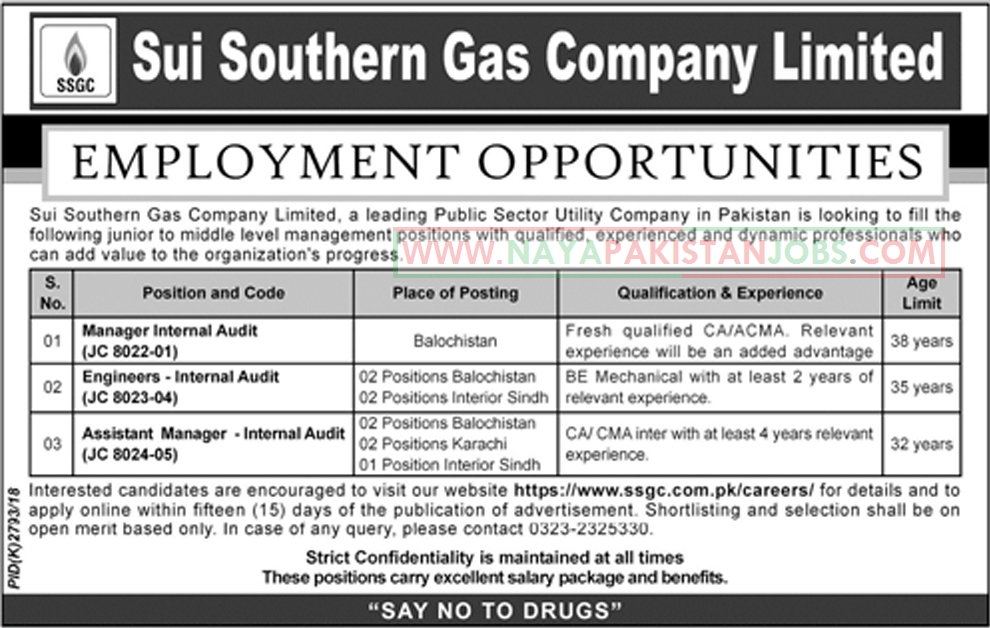 SSGC Jobs, Sui Southern Gas Company Limited SSGC Jobs Jan 2019