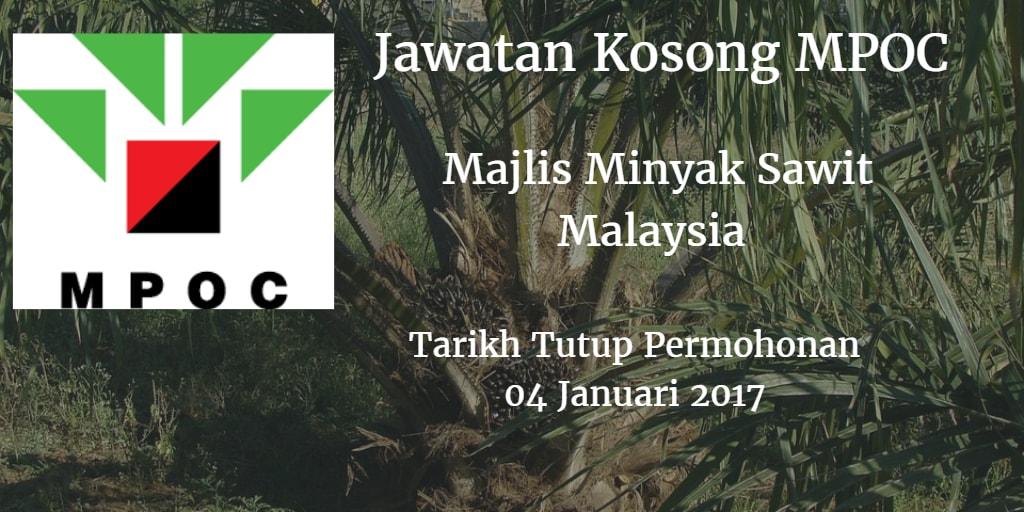 Jawatan Kosong MPOC 04 Janauri 2017