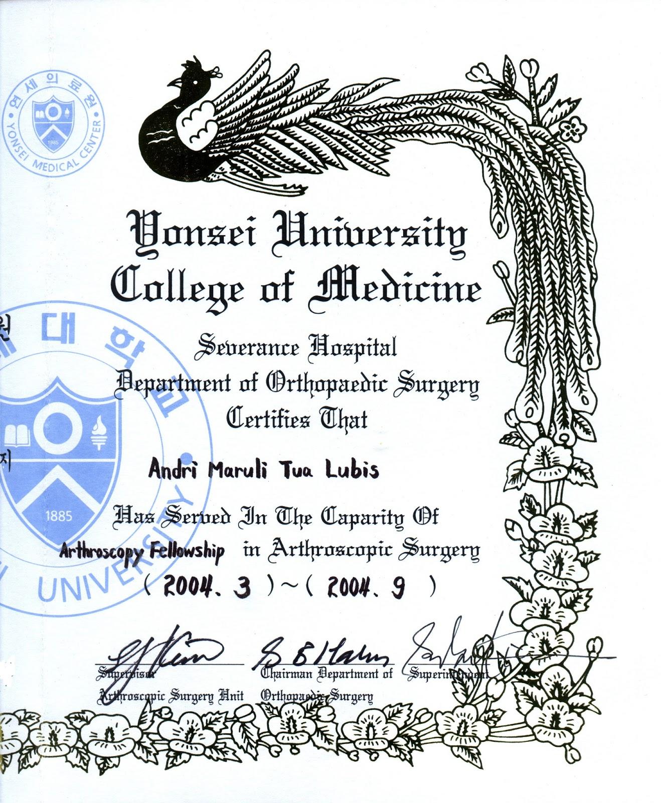 Sertifikat Dr. Andri Lubis